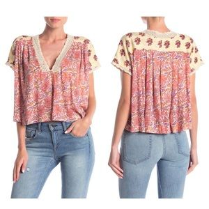 Free People   Leilani Print Top Size M Floral Lace